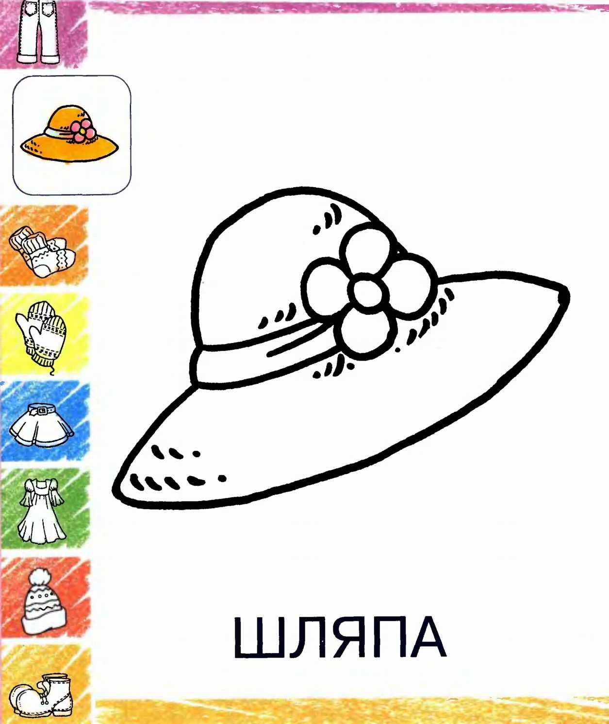 Раскраски одежда шляпа